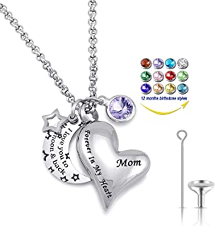 Urn Necklaces for Ashes I Love You to The Moon and Back for Mom Cremation Urn Locket Birthstone Jewelry