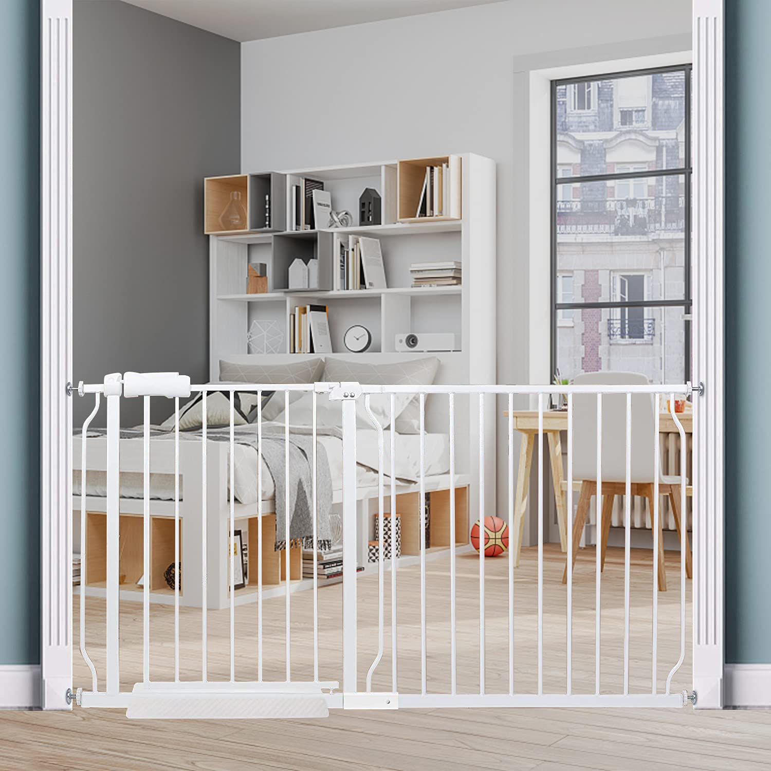 HOOOEN Extra Wide Baby Gate Extra Tall Dog Gate for Stairs Doorways White Metal Tension Child Pet Safety Gates with Pressure Mount 57.5-62 Inch