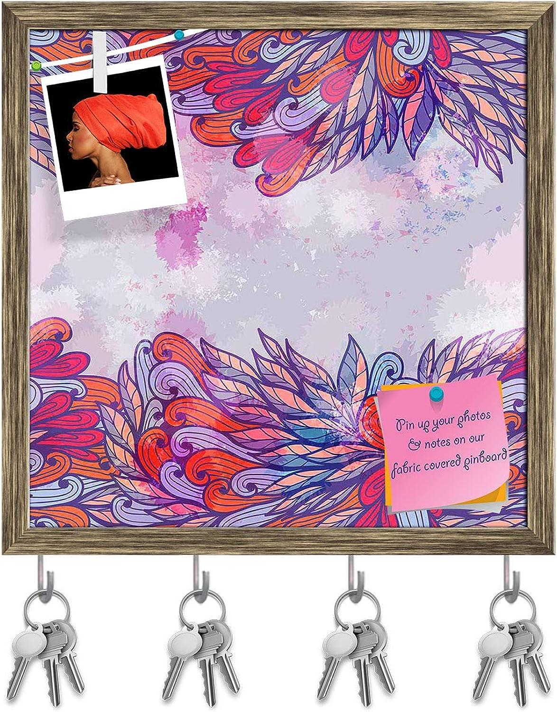 Artzfolio Pink & purple Element Key Holder Hooks   Notice Pin Board   Antique golden Frame 20 X 20Inch