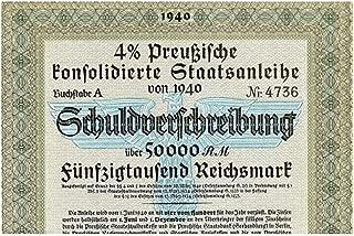 1940 DE RARE ORIGINAL 50,000 MARK NAZI WAR BOND w BLUE EAGLE, 2 SWASTIKAS 50,0000 Marks Crisp Uncirculated
