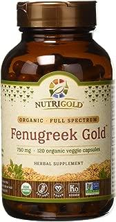 Organic Fenugreek Gold - 750 mg, 120 Organic Veggie Capsules (GMO-Free, Preservative-Free, Allergen-Free Organic Fenugreek Seed Powder in Organic Capsules for Breastfeeding)