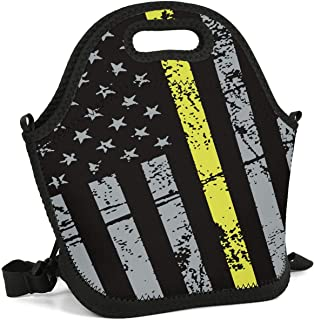 JECIA HOLDER Lunch Tote Insulated Reusable Picnic Lunch Bags Boxes 911 Dispatcher Thin Gold Line Lunchbox for School Work Office