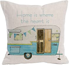 KACOPOL Cute Retro RV Happy Campers Throw Pillow Cover Cotton Linen Home Decor Sofa Waist Pillowcase Cushion Cover Square for Travel 18x18 Inches (Home is Where The Heart is)