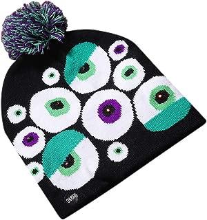 Halloween Hats for Adults Pumpkin Patch Ghost Hat Winter Warm Knit Slouchy Beanie Pom Pom Beanie Hat