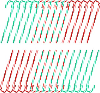 Elcoho 36 Pieces Christmas Tree Striped Candy Canes Twisted Toy Crutch Large Plastic Candy Cane Crutch for Christmas Tree Hanging Decorations, 3 Color (Color 1)