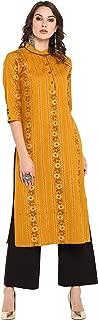 Janasya Women's Mustard Cotton Kurta With Palazzo