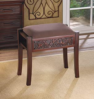 Rectangular Alma Vanity Stool Intricate Carved Design Faux Suede Seat Furniture