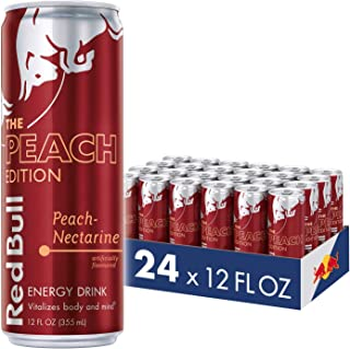 Red Bull Energy Drink, Peach-Nectarine, 12 fl oz (24 Count), Peach Edition