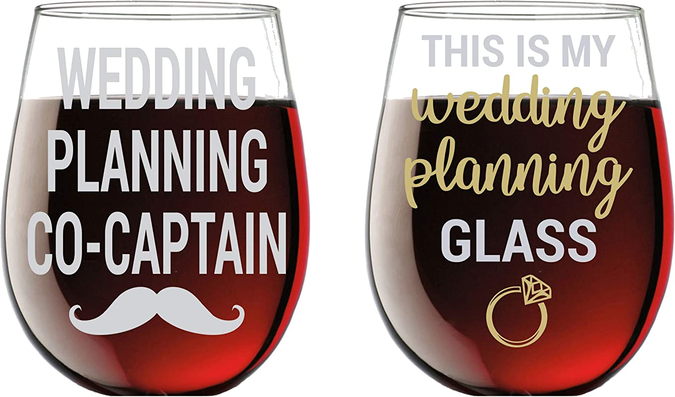 This Is My Wedding Planning Glass Planning Co Captain Funny 15oz Crystal Wine Glass Stemless Wine Glass Couples Sets Perfect Idea For Bridal And Engagement Gifts