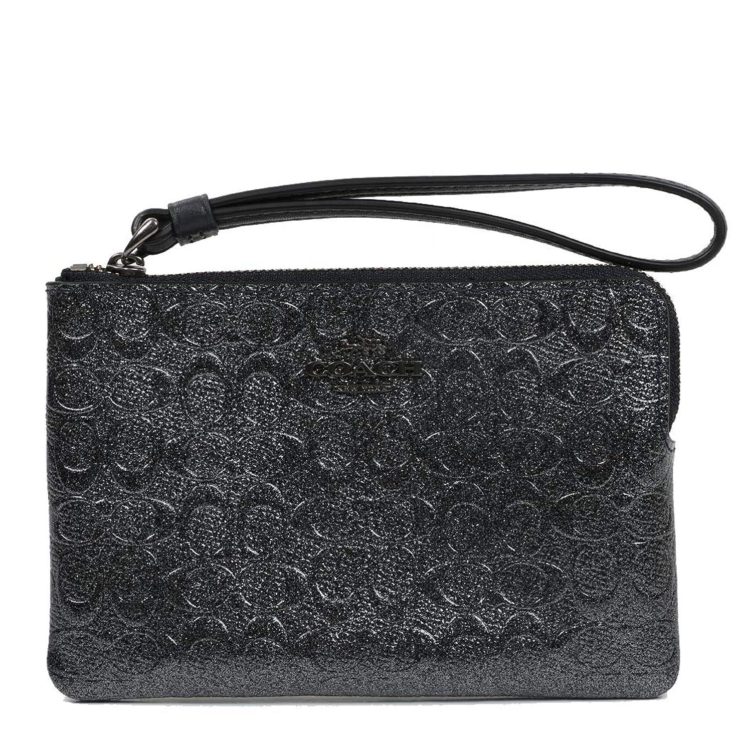 Coach Crossgrain Leather Corner Zip Wristlet Wallet (Charcoal)