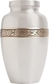 Silver funeral urn by Liliane Memorials - Cremation urn for human ashes hand made in brass - Suitable for cemetery burial or niche - Large size fits remains of adults up to 200 lbs - Wildflowers model