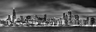 Chicago Skyline PHOTO PRINT UNFRAMED NIGHT Black & White B&W BW 11.75 inches x 36 inches Photographic Panorama Print Photo Picture Standard Size