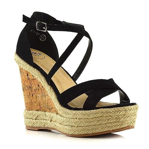 82b77d51f40b ESSEX GLAM Womens Ladies Ankle Strap Espadrilles Platform Wedge Heel Open  Toe Sandals Shoes