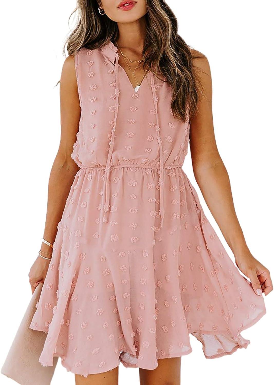 Asvivid Womens Summer Swiss Dot Dress V Neck Spaghetti Strap Sleeveless Ruffle Mini Dress