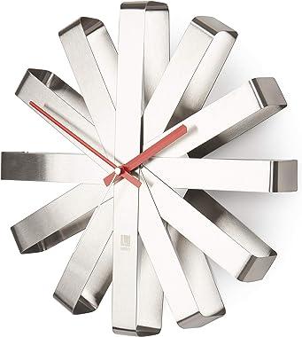 Umbra Ribbon Modern 12-inch, Battery Operated Quartz Movement, Silent Non Ticking Wall Clock, Stainless Steel, Medium