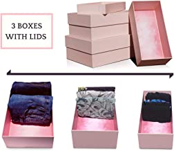 Cavwest Drawer Organiser Boxes with Lids | Clothes Organiser Designed for Underwear, Socks, Bra, Shirts, Shorts, Jeans | Set of 3 Decorative Storage Boxes with Deep Lids | Gift Boxes (3, Pink) … (3, Pink)
