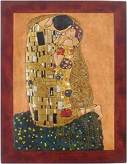 Cuadro Decorativo en piel El Beso Klimt Hecho a Mano