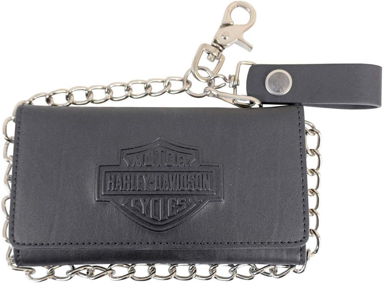 Harley-Davidson Mens B&S Logo Biker Tall Black Leather Trifold Wallet