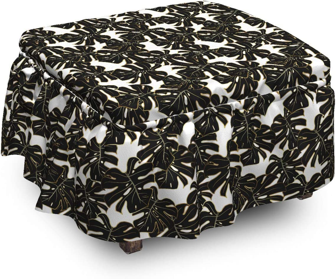 Ambesonne Exotic Ottoman Cover Detailed New Shipping Free Shipping Piec Max 67% OFF Monstera 2 Leaves