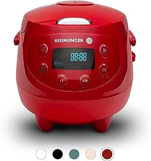 Reishunger Mini arrocera (0.6l/350W/220V) Hervidor de arroz con 8 programas, tecnología de 7 Fases, Temporizador y función de Mantenimiento de Temperatura (Rojo)