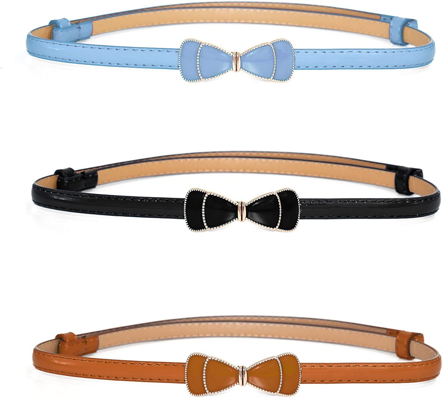 Women Slim Waist Belt with Cute Bowknot in Solid colors