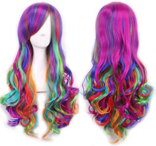Mersi Long Rainbow Wig Curly Wavy Cosplay Wigs for Women Colorful Costume Wigs 27 Inch with Wig Cap (Rainbow) S012