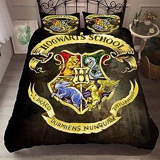 Yomoco - Juego de ropa de cama con diseño de Harry Potter escuela de magia, funda nórdica y dos fundas de almohada, microfibra, impresión digital 3D, juego de tres piezas, 42, King 220x240cm