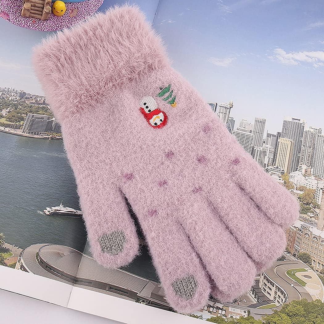 Licogel Christmas Women Gloves Non-Slip Snowman Soft Winter Gloves Touchscreen Gloves Diving Travel Lightweight Cold