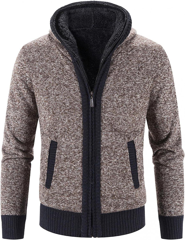 Aayomet Men's Hoodies Cardigan Winter Warm Solid Zip Long Sleeve Casual Hooded Pullover Tops Sweaters Coat with Pockets