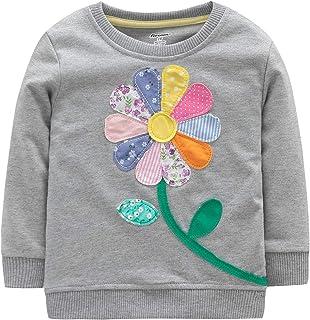 Fiream Girls Cotton Crewneck Cute Embroidery Sweatshirts