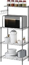 Yontree Steel Rack Kitchen Storage Oven Shelf Kitchen Wire Shelving Silver 13.8x21.7x47.2 Inches
