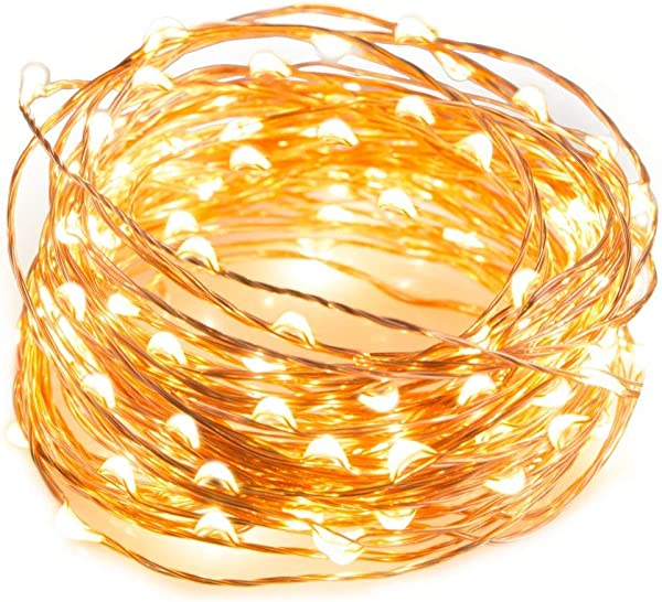 Dix Rainbow LED String Lights Fairy Lights String 16 5FT With 50 LEDs Canopy Fairy Light Christmas Indoor Decorative Lights For Bedroom Garden Patio Parties Copper Wire Lights Warm White