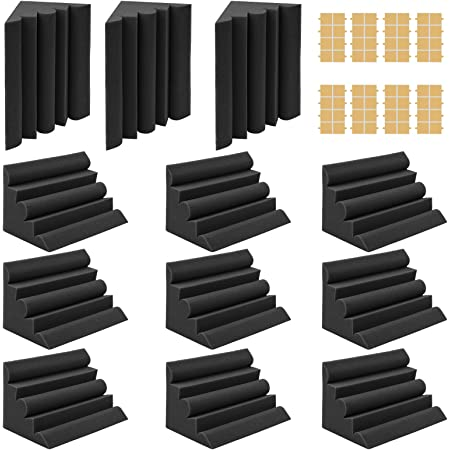 """Webetop Acoustic Foam Bass Traps Corner Studio Foam 12 Pack Set 7"""" X 7"""" X 12"""" with Adhesive Tape Ideal for Noise Dampening Home Theater Ceiling Corner Sound Treatment Black"""