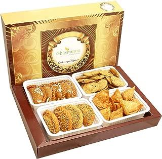 Ghasitaram Gifts Indian Sweets (Mumbai), Holi Hampers, Authentic Indian,Big Box of Dry Sweets Gujiyas, Til/ Sesame Gujiya, Farsan Samosas and Methi Mathi Hamper, 750 Grams