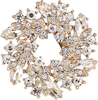 5c26be2ad Daisy Jewelry Vintage Rhinestone Bridal Wedding Bouquet Flower Wreath Brooch  Pins for Women