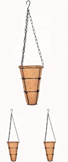 COIR GARDEN Conical Coir Basket with Stand, Flower Basket with Hanging Metal Chain Coco Pots (Pack of 3) - Dia 15 cm, Height - 23 cm