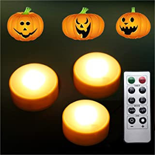 LED Pumpkin Lights with Remote and Timer, Battery Operated Bright Flickering Flameless Candles for Pumpkin Decor, Jack-O-Lantern Halloween Party Decorations,Orange Color, 3 Pack