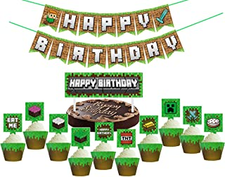 Pixel Style Mining Party Favors Sets for Birthday Party, 62 Pcs Pixel Miner Theme Party Supplies Kit Includes Banner - Cake Topper - Cupcake Topper and Wrapper for Kids, Adults Birthday Party Decorations,Not Includes balloons.