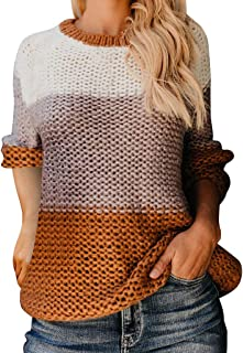 LEKODE Sweater Women's Pullover Patchwork Long Sleeve Knit