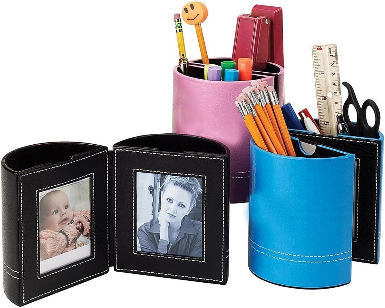 Leather Pen Holder With Frames [Set of 2] color  Pink