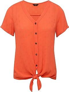 bbb109125ed2dc M&Co Ladies Petite Crinkle Button Tie Front Top with Short Sleeves V Neck  Subtle Spot Design