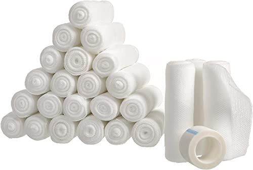 new arrival Gauze Bandage Roll with Free Bonus Tape outlet sale (Pack of 24) - 4 Inch by 4 Yards Rolled Gauze Wrap - White Gauze Rolls - Breathable Gauze Wrap Used for First outlet sale Aid Wound Care & Medical Supplies online