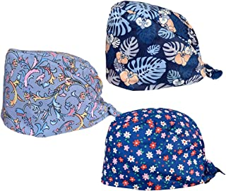 Hemobllo 3pcs Chef Working Cap Floral Printed Lace Up Strap Food Service Cap Headwear Lab Factory Sweat Absorbing Head Cover Cap for Women Men