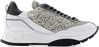 JIMMY CHOO Luxury Fashion Womens RAINEFICPLATINUMMIX White Sneakers | Fall Winter 19