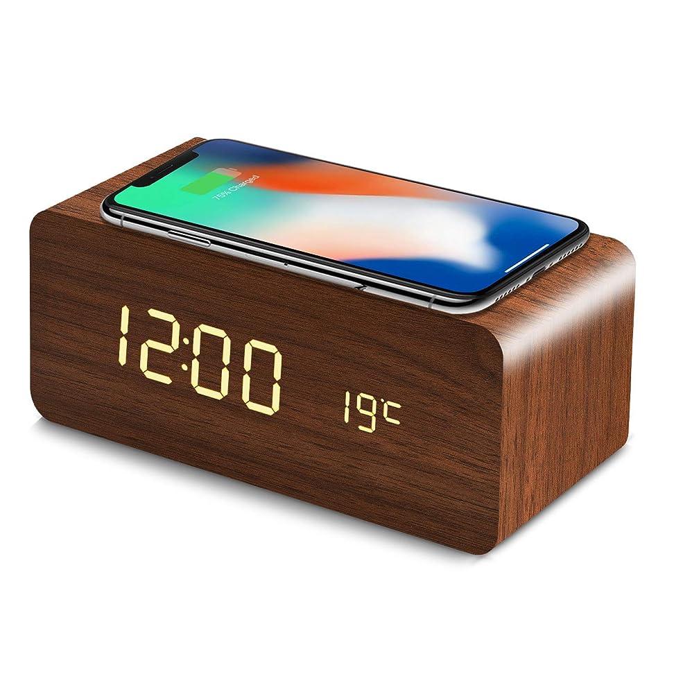 民間人周波数承知しましたHZDHCLH 置き時計 デジタル 目覚まし時計 Qiワイヤレス充電機能 android iphone 木目調 日付 温度 USB給電 音声感知 省エネ (ブラウン(オレンジ字))