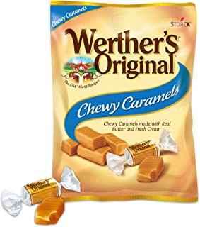 WERTHER`S ORIGINAL Chewy Caramels, 5.0 Ounce Bags (Pack of 12), Bulk Candy, Individually Wrapped Candy Caramels, Caramel C...