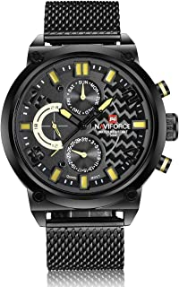 NAVIFORCE Chronograph Men Watch Stainless Steel Mesh Band Six Hands Wrist Watch NF9068