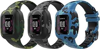 MoKo 3 PZS Correa de Reloj para Garmin Vivofit JR 3,Pulsera de Repuesto de Silicona Suave con Patrón de Flor para Niños, Null