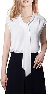 Women's Casual V Neck Sleeveless Tunics Blouses Chiffon Zipper Tank Tops