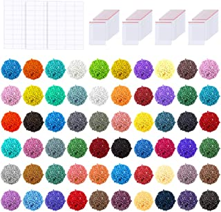 PP OPOUNT 60000 PCS 60 Colors Diamond Painting Replacement Square Diamonds with 80 Pieces Self-Seal Bags, 120 Tags Label P...